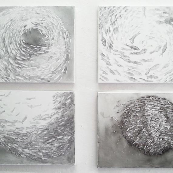 Schwärme, 2014, je 40 x 50 cm
